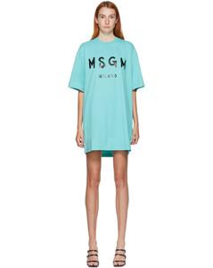 蓝色Brushstroke Logo T恤连衣裙