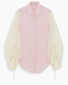 Pink blouse with curled sleeves detail
