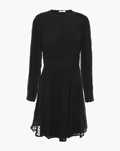 Pleated fil coupésilk-blend mini dress