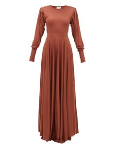Bias-cut pleated-sleeve modal-jersey maxi dress