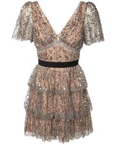 Ruffled Mini Dress W/ Embroidery