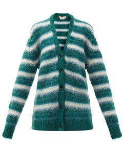 V-neck striped brushed-knit cardigan