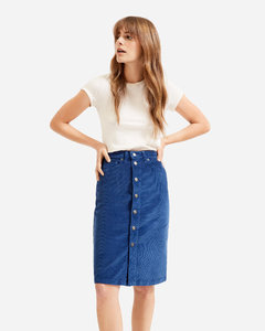 The Button-Front Corduroy Skirt