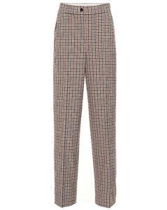 High-rise plaid pants