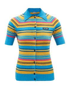 Logo-patch striped cotton-blend polo cardigan