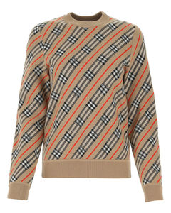 Checked Intarsia-Knit Sweater