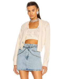Wool Knit Cropped Cardigan in Ivory