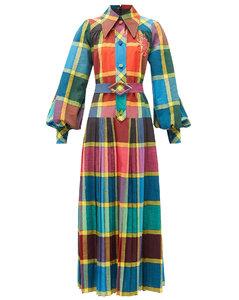 Madras-check pleated cotton fil-á-fil shirtdress