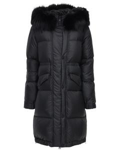 Long Nylon Down Coat W/ Fur Trim