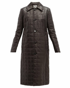 Quilted-leather down-filled coat