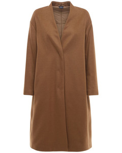 Quilted Wool Blend Long Coat