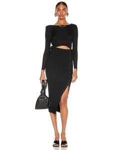 Viscose Rib Knit Midi Dress in Black