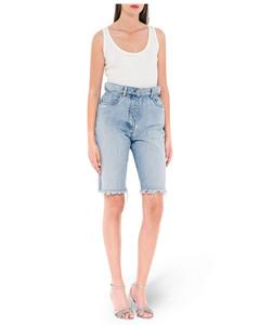 frayed high-waisted denim shorts