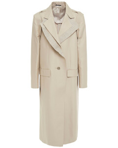 Woman Canvas-trimmed Frayed Cotton-blend Gabardine Trench Coat