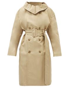 Convertible-collar cotton-gabardine trench coat