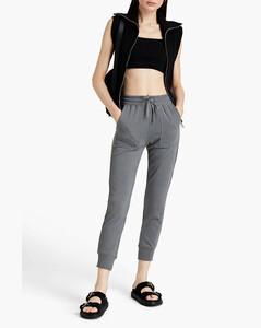 Black slim-leg wool trousers