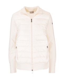 Quilted front cardigan in white