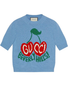 Beverly Hills cherries intarsia-knit top