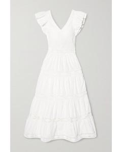 Lea鉤編邊飾荷葉邊馬德拉刺繡純棉超長連衣裙