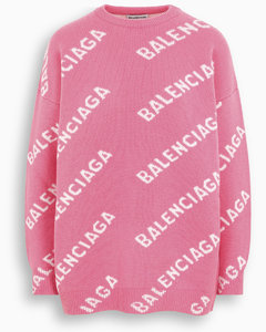 Pink/white all-over logo sweater