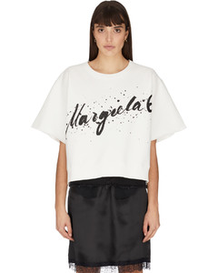 Glitter Logo Short Sleeve Pullover - White