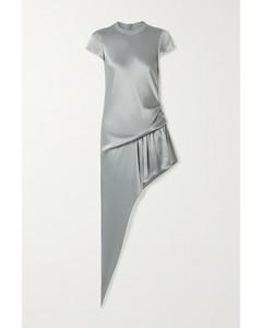 不對稱垂墜緞布連身短褲