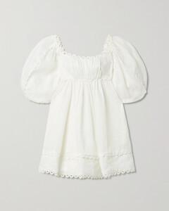Cassia Scalloped Linen Mini Dress