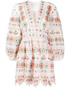 Cotton Blend Printed Mini Dress