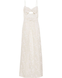 Woman Corsage Bow-embellished Cotton And Silk-blend Guipure Lace Maxi Dress