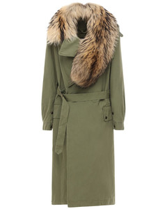 Long Belted Trench Coat W/ Fur Collar