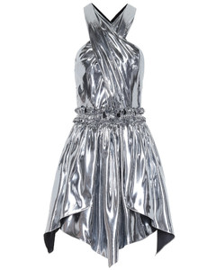 Kary metallic silk-blend minidress