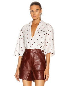 Printed Cotton Poplin Top in White