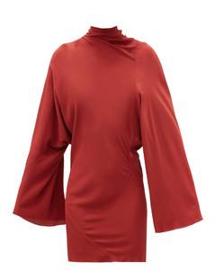 Ruched high-neck crepe mini dress