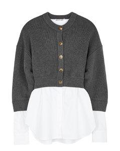Grey layered cotton-blend cardigan