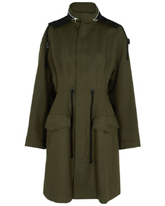 Dark olive hooded cotton coat