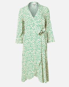 Women's Printed Crepe Wrap Midi Dress - Tapioca