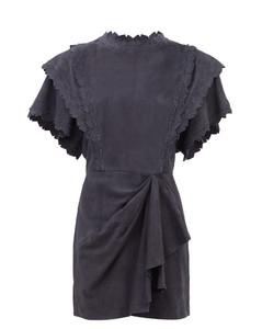 Aleati layered suede mini dress