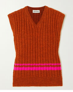 Vaughan Striped Cable-knit Wool Tank
