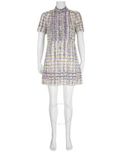 Ruffle Detail Scribble Check Print Silk Dress In Heather