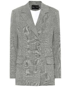 格纹弹力羊毛西装式外套
