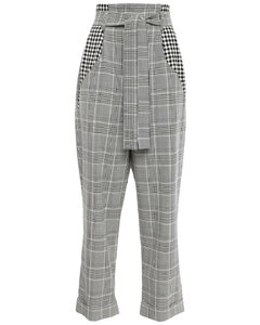 Woman Belted Checked Woven Wide-leg Pants