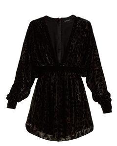 Batwing-sleeved fil-coupévelvet mini dress