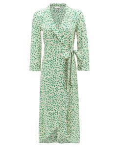 Blouson-sleeve floral-print crepe wrap dress