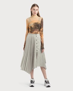Ilia Stripe Asymmetric Pleated Midi Skirt