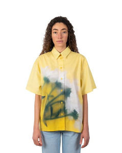 Puffed-sleeve checked cotton-blend mini dress