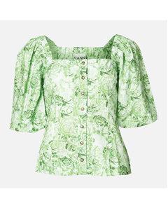 Women's Printed Cotton Poplin Top - Island Green