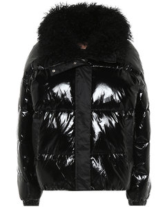 Shearling-trimmed down jacket