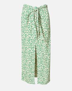 Women's Printed Crepe Wrap Midi Skirt - Tapioca