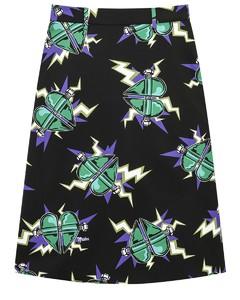 Heart printed midi skirt