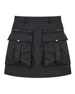 Black gabardine miniskirt